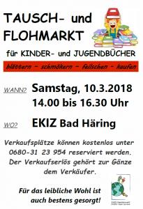 Tausch- und Flohmarkt des EKIZ für Kinder- und Jugendbücher @ Räume EKIZ Bad Häring, Eingang Turnhalle der Volksschule, 1. OG